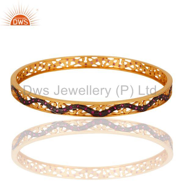 18k yellow gold plated ruby red cubic zirconia lady fashion bangle