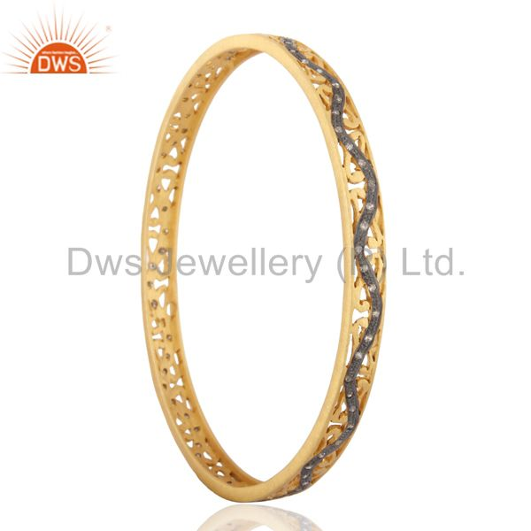 18K Gold And Sterling Silver Pave Set Diamond Sleek Bangle Gift For Her