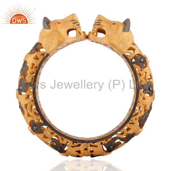 Ruby And Black Diamond Studded Gold Plated Designer Panther Silver Bangle
