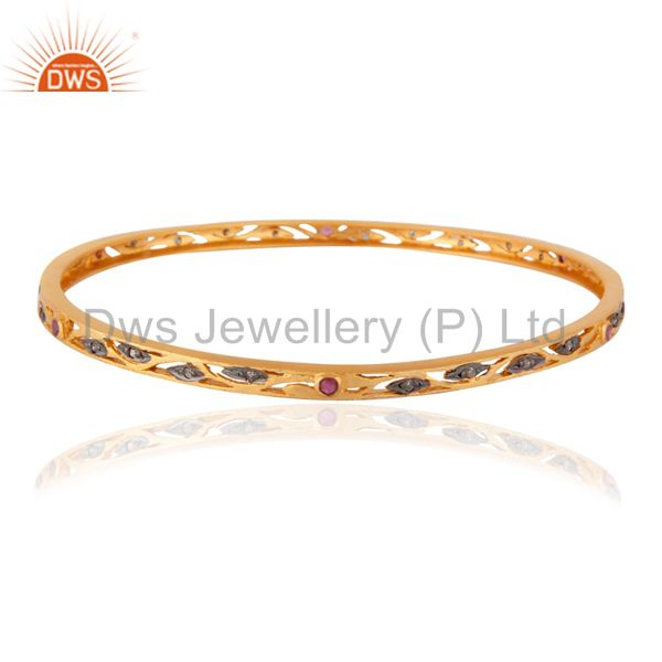 Pave Diamond Ruby Gemstone Studded Silver Bangle In 18K Gold Plated