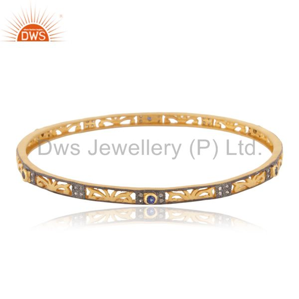Pave Diamond 18k Gold GP Blue Sapphire Gemstone 925 Silver Sleek Bangle