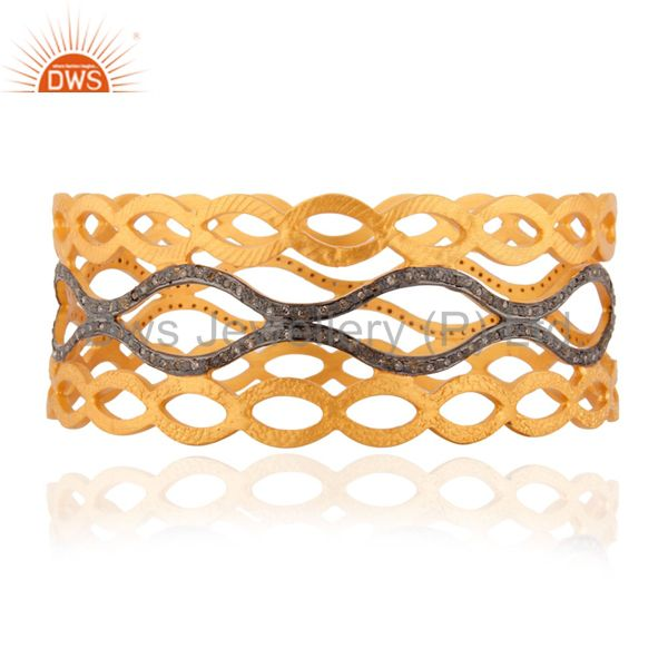 High quality handcrafted 925 sterling silver pave diamond bangle
