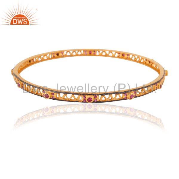 Women fashion solid silver ruby gemstone 18k gold plated bangles