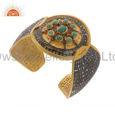 18K Gold Over Sterling Silver Pave Diamond And Emerald Antique Cuff Bracelet