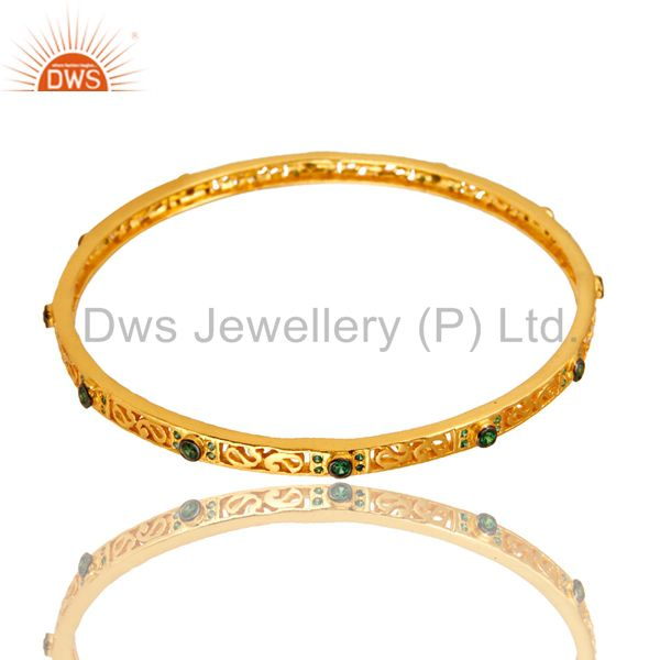 18k yellow gold plated green cubic zirconia designer sleek bangle