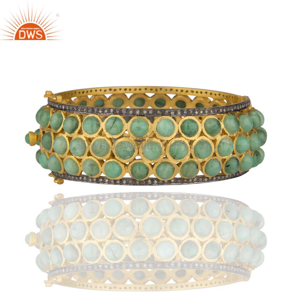 18k gold plated bangle with pave diamond 925 sterling silver