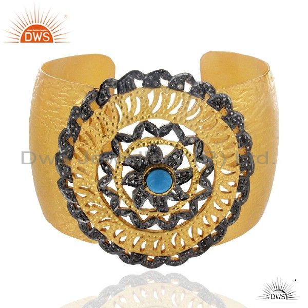 18k gold plated sterling silver turquoise and cz wide cuff bracelet bangle