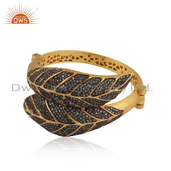 Leaf Shaped Cubic Zirconia Set Silver Gold Plated Bangle