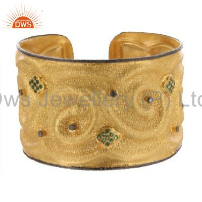 18k yellow gold sterling silver pave diamond and emerald wide cuff bracelet