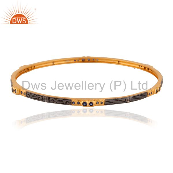 Handmade 925 Sterling Silver Natural Blue Sapphire Round Bangle / Bracelets