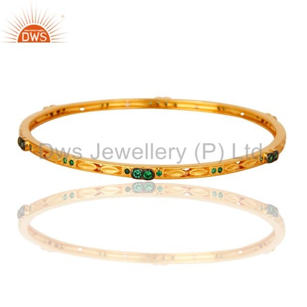 14K Yellow Gold Plated Emerald Green CZ Bridal Fashion Sleek Bangle