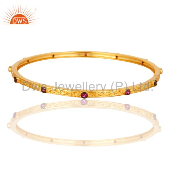 Ruby Cubic Zirconia 22K Yellow Gold Plated Brass Designer Bangle