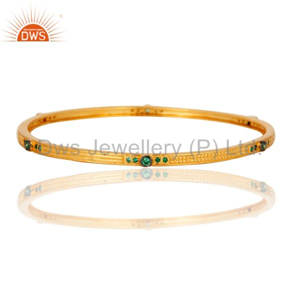 Stunning 18k yellow gold plated emerald green cz designer bangle