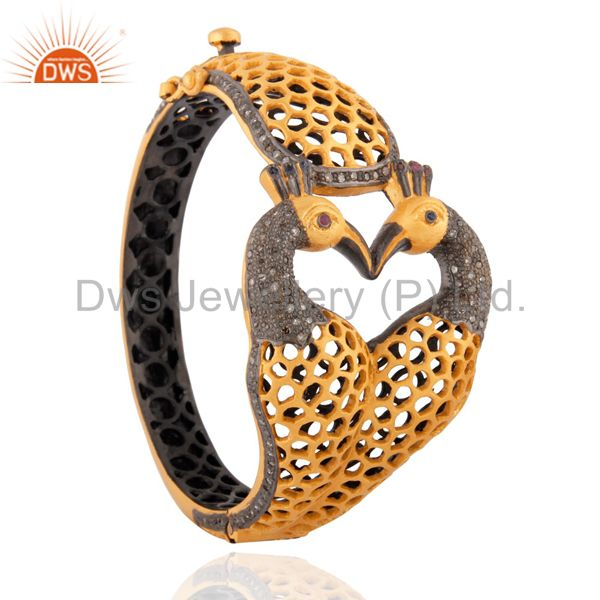18k Gold GP Gemstone Ruby Sterling Silver Pave Diamond Peacock Designer Bangles