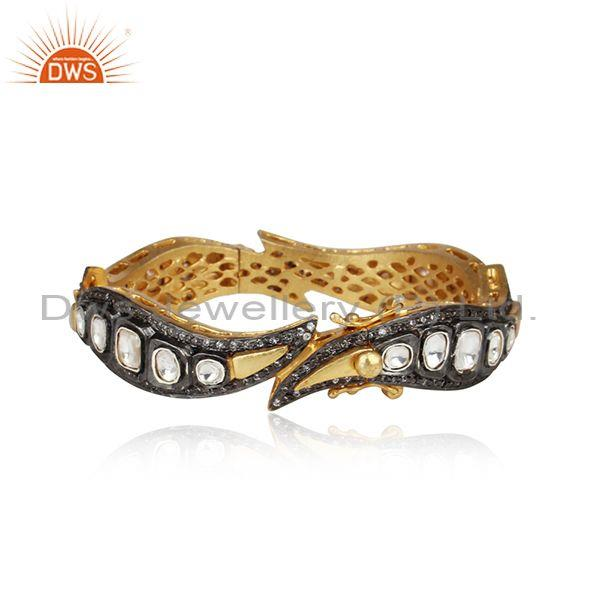 Handcrafted Designer Gold on Silver 925 Crystal and Cz Bangle