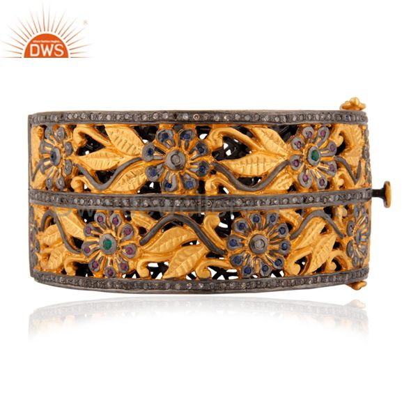Flower Design Emerald Pave Diamond 18k Gold New Vintage Style Bracelet Jewelry