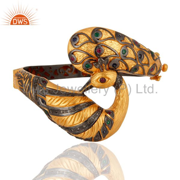 Ruby/Emerald Diamond Gold Plated 925 Sterling Silver Antique Look Bangle