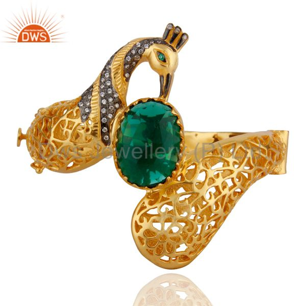 18K Gold Plated Unique Peacock Design Openable Bangle With Green Glass And CZ