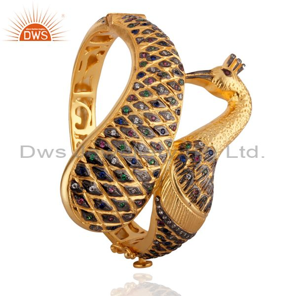 14k yellow gold mix cubic zirconia indian fashion peacock bangle