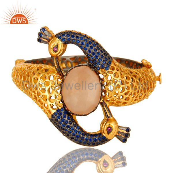 14k gold on blue cz peach moonstone double peacock openable bangle