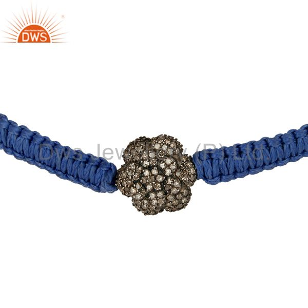 925 Sterling Silver Pave Set Diamond Beads Fashion Macrame Cord Bracelet