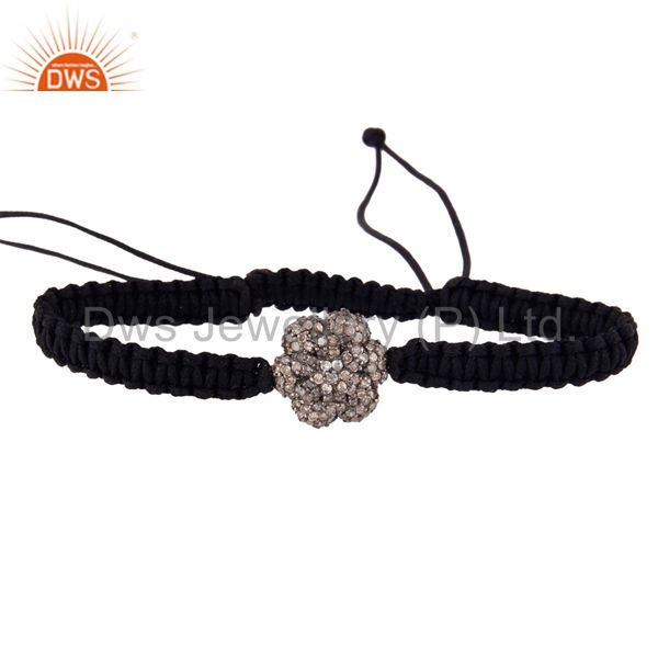 925 Sterling Silver Natural Diamond Pave Bead Black Macrame Handmade Bracelets