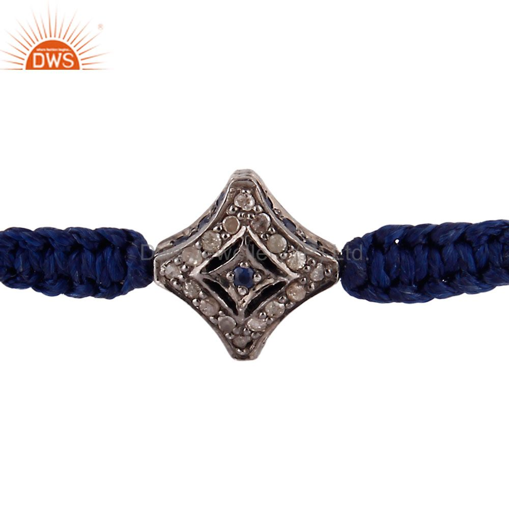 Pave Diamond Blue Sapphire Sterling Silver Bead Finding Macrame Bracelet Jewelry