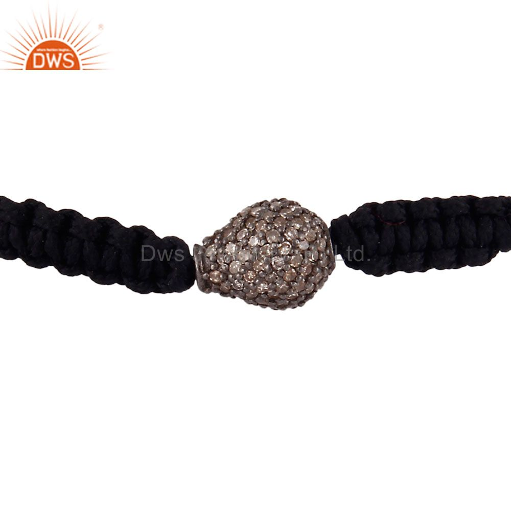 925 Sterling Silver Diamond Pave Drop Shaped Bead Finding Macrame Bracelet