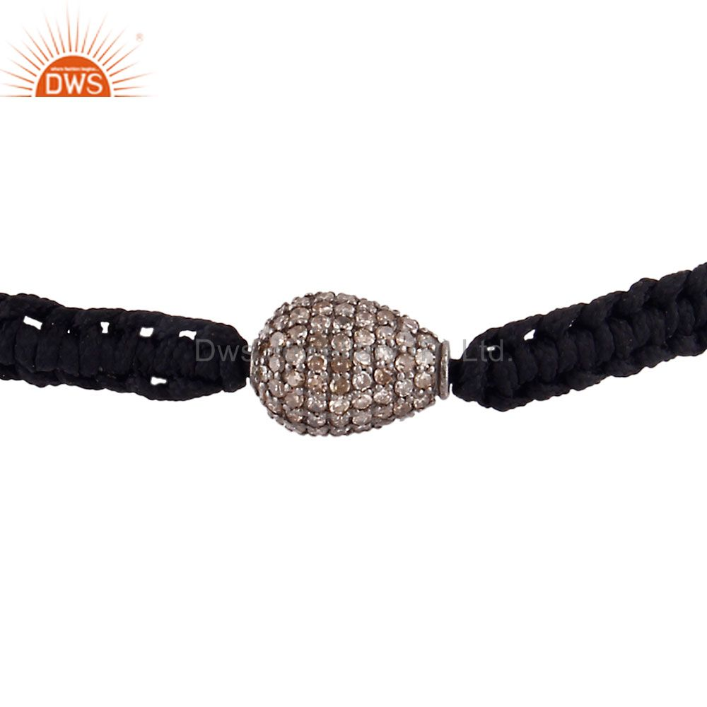925 Sterling Silver Diamond Pave Beads Fashion Macrame Black Cord Bracelet