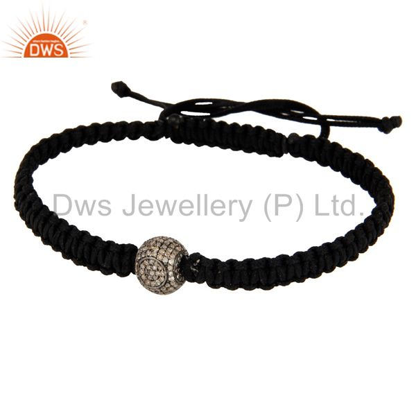 Macrame Fashion Braclet With 925 Sterling Silver Pave Diamond Beads