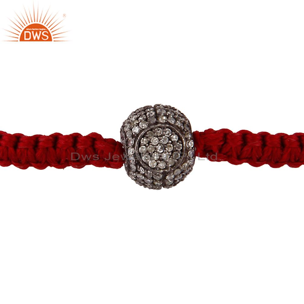 Handmade Pave Diamond Ball Sterling Silver Macrame Fashion Bracelet
