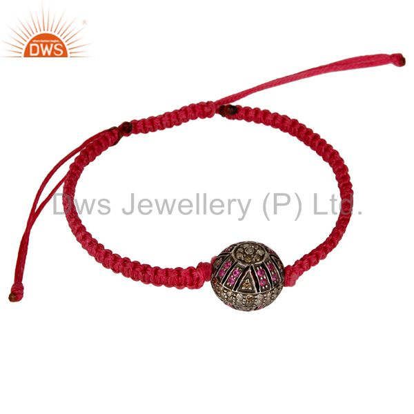 Genuine diamond natural ruby 925 sterling silver macrame bracelet jewelry