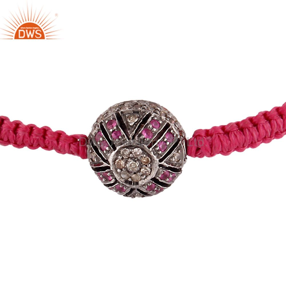 Ruby gemstone pave diamond sterling silver bead finding macrame bracelet
