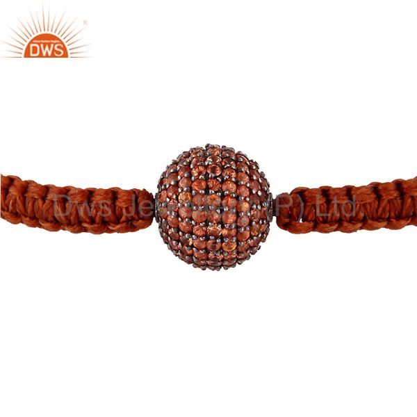 925 sterling silver orange sapphire gemstone pave bead fashion macrame bracelets