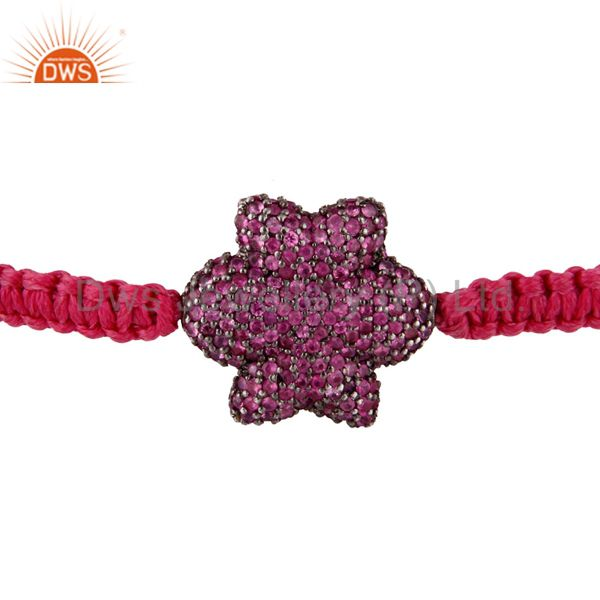 Pink Sapphire Pave Bead 925 Sterling Silver Flower Charm Macrame Bracelet