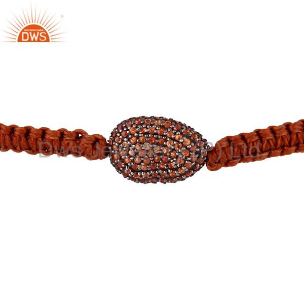 Orange Sapphire 925 Sterling Silver Beads Gemstone Macrame Unisex Bracelet