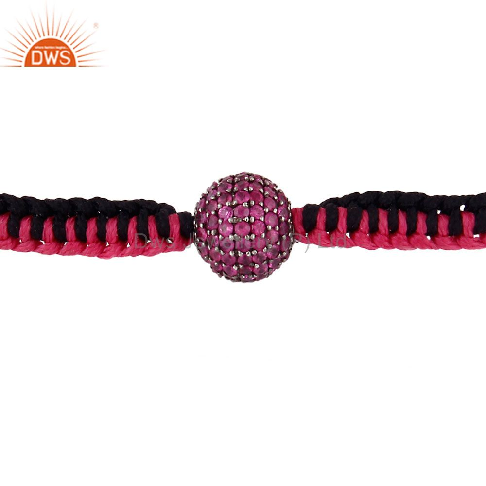 18k gold sterling silver pave set ruby ball sphere macrame fashion bracelet