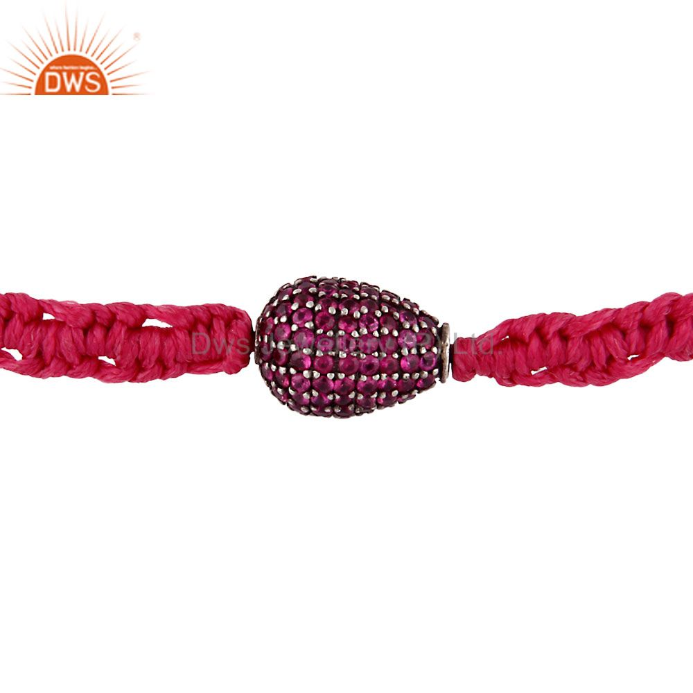 925 sterling silver ruby gemstone adjustable macrame bracelet jewelry