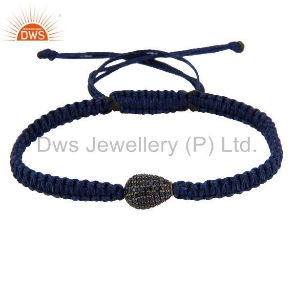 925 sterling silver blue sapphire gemstone bead fashion shamballa bracelet