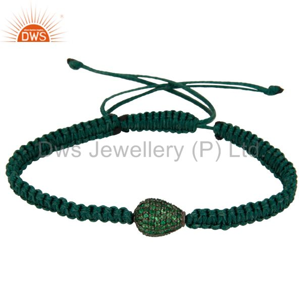 925 sterling silver natural tsavorite gemstone beads women fashion bracelet