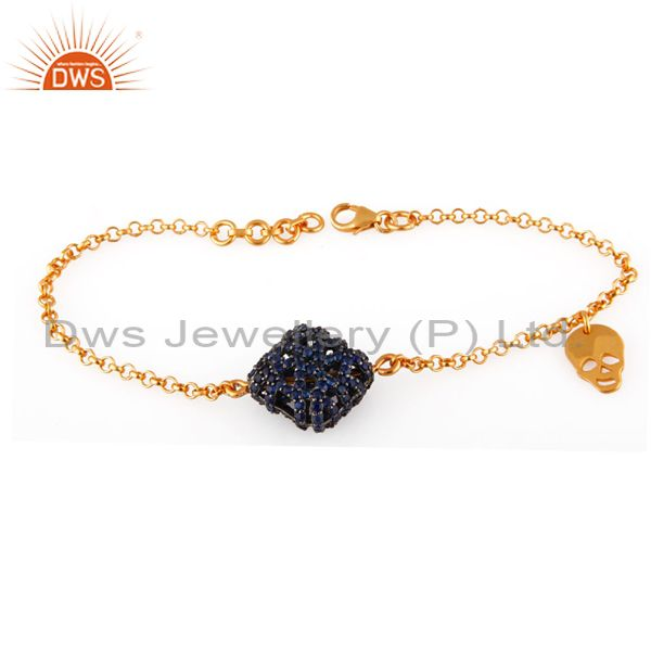 18K Yellow Gold Plated Sterling Silver Sapphire Chain Bracelet With Skull Charms