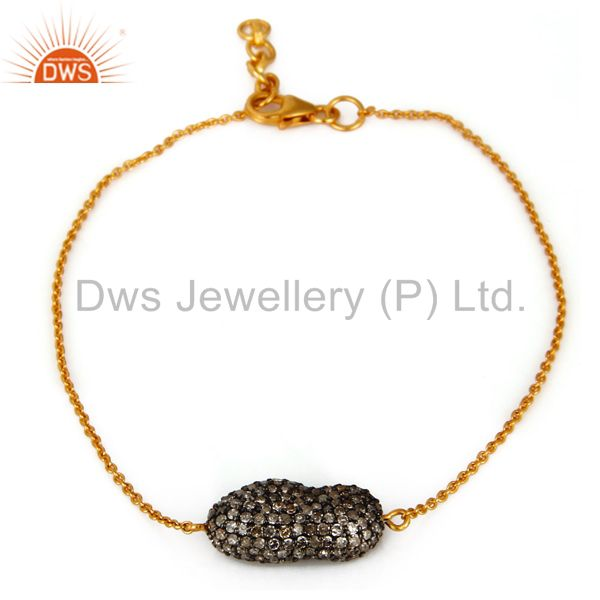 Pave Diamond Beads 18K Gold Over Sterling Silver Fashion Chain Bracelet Jewelry