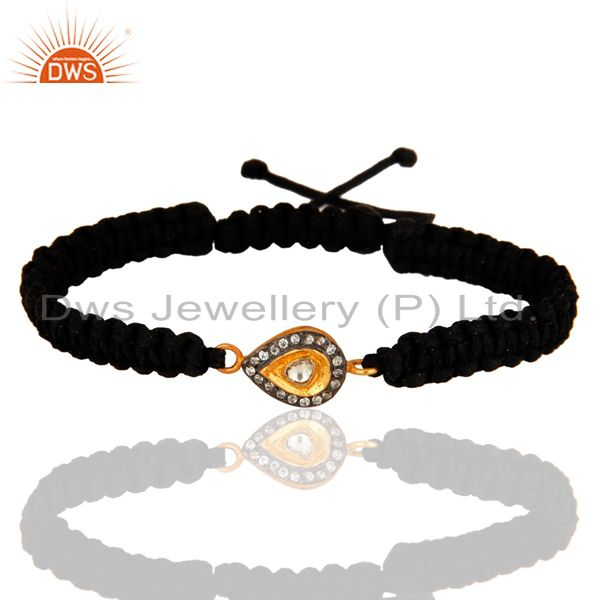 18k gold plated sterling silver crystal charms macrame bracelet with cz