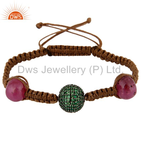 Natural Ruby Gemstone Bead Macrame Bracelet Sterling Silver Tsavorite Jewelry