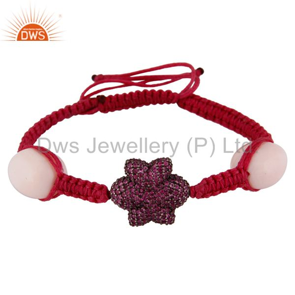 Ruby flower design beads bracelet sterling silver macrame fashion jewelry