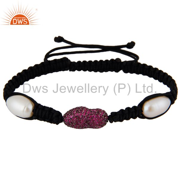 Sterling silver ruby pave bead macrame bracelet natural pearl fashion jewelry