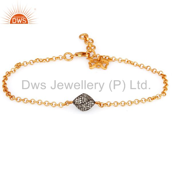 Diamond Pave Beads Gold Plated Sterling Silver Charm Chain Bracelet Jewelry