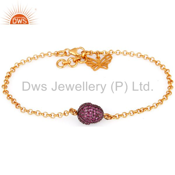 925 sterling silver pink sapphire gemstone beads butterfly charm chain bracelets