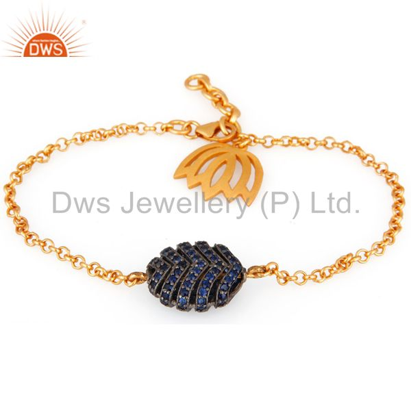 Blue Sapphire Gemstone 18k Gold Over 925 Sterling Silver Charm Chain Braelets