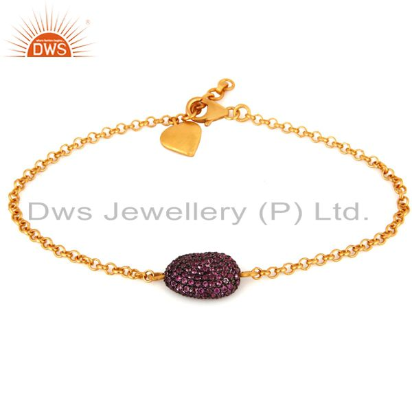 18k yellow gold plated 925 sterling silver pink sapphire gemstone bracelet